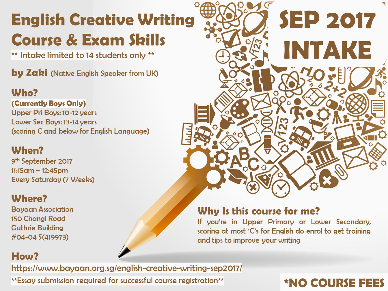 english creative writing  exam skills course for boys  september   scoring at most cs for english language do enrol them to get training  and tips to improve their writing details in the poster below